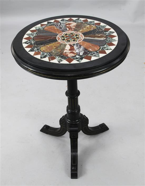 A Victorian ebonised tripod table, by Johnstone & Jeanes Diam. 1ft 10in. H.2ft 6in., marble restored
