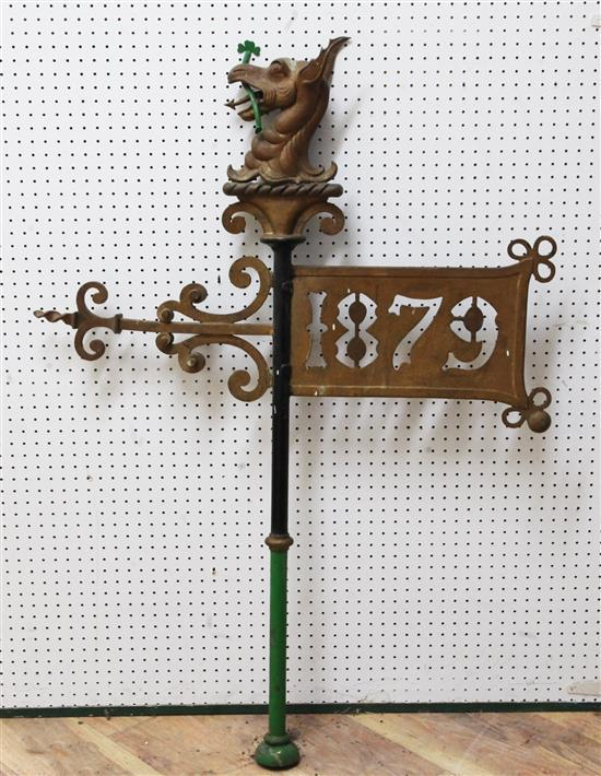 A Victorian cast metal and wrought iron weather vane, overall 11ft