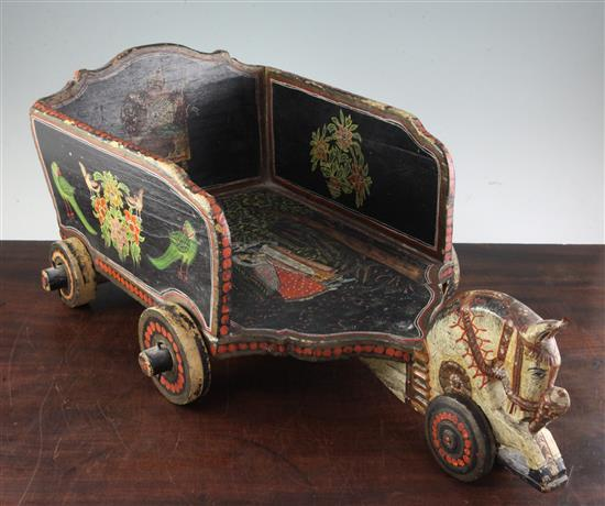 An Indian toy horse and cart, 26in.