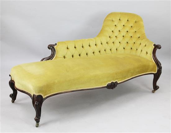A Victorian carved rosewood chaise longue, W.6ft D.2ft 9in. H.2ft 11in.