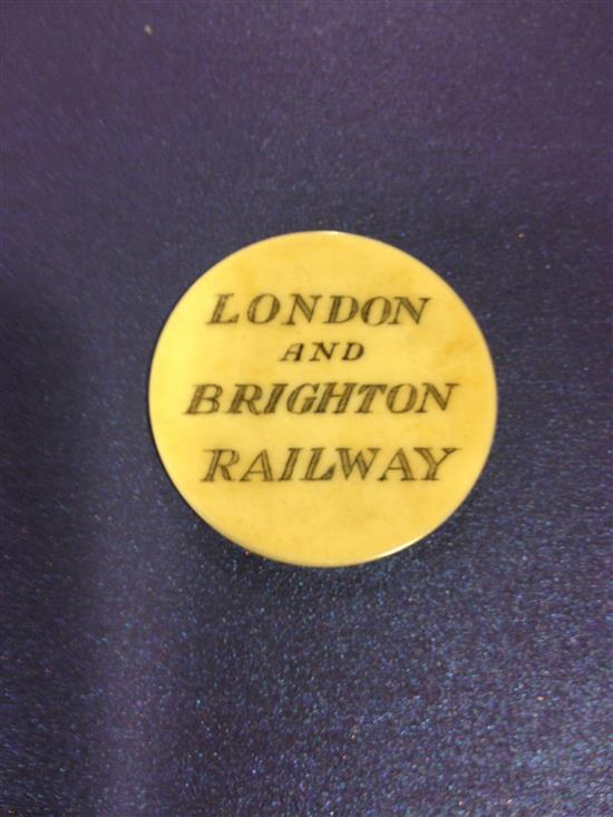 19th century London and Brighton Railway circular ivory 'Directors Ticket