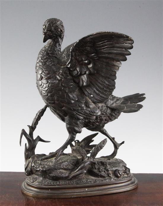 Paul Edward Delabrierre (1829-1912). An animalier bronze model of a partridge, 12.5in.