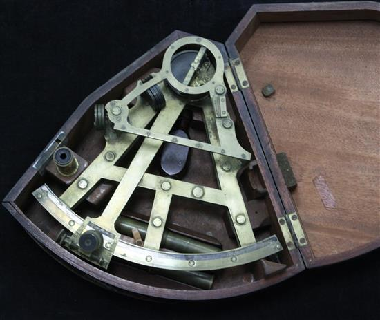 A mid 19th century brass sextant by Berge Late Ramsden of London, overall 12in.