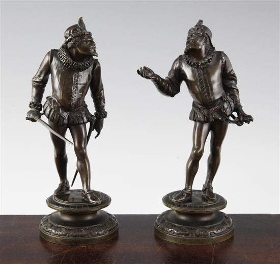 Emile Guillemin (1841-1907). A pair of bronze figures of 17th century duelists, 7.5in.