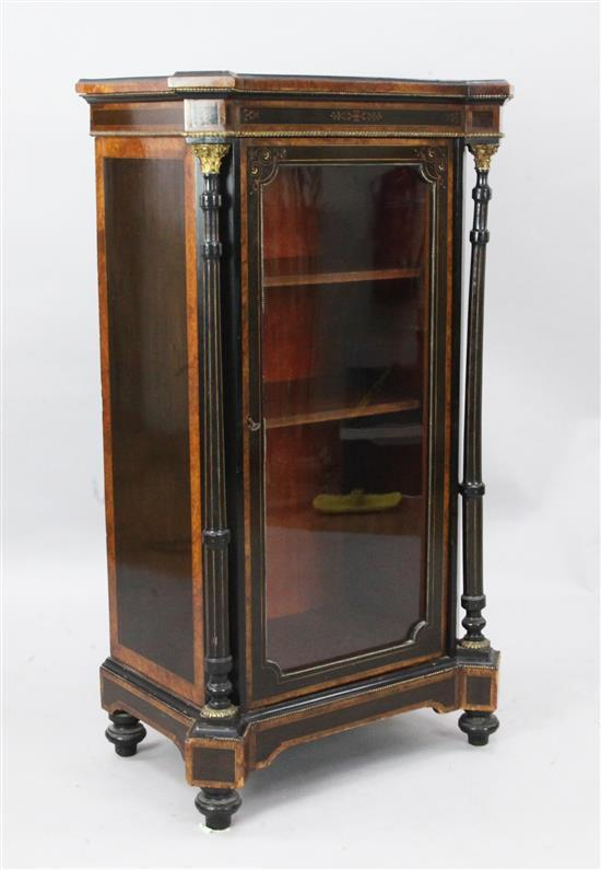 A Victorian ebonised and inlaid pier cabinet, W.2ft 1in. D.1ft 5in. H.3ft 8in.