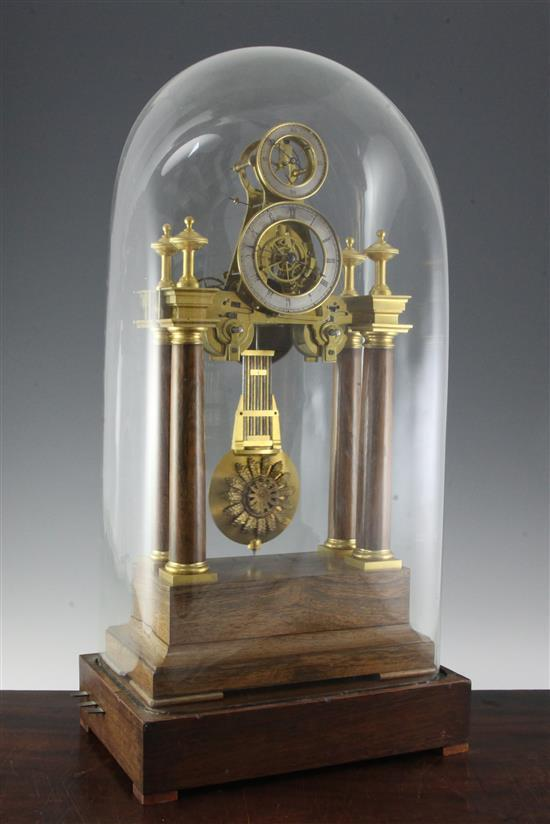 A 19th century French eight day striking musical pillar clock, clock 21.75in., with dome 27.5in.