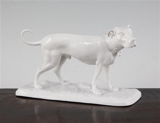 A Nymphenburg white glazed porcelain model of a standing hound, length 15.3cm (6in.)