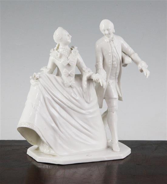 A Nymphenburg white glazed porcelain group of a lady and gentleman, after Bustelli, late 20th century, height 15.5cm (6.1in.)