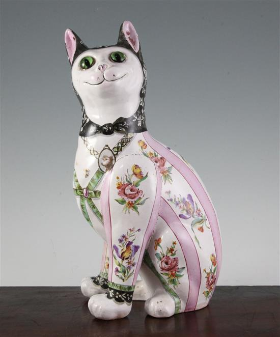 A Galle faience model of a seated cat, late 19th century, height 34cm (13.4in.), one leg restored