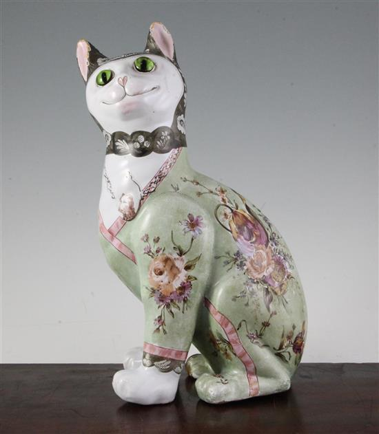 A Galle faience model of a seated cat, late 19th century, height 33cm (13in.)
