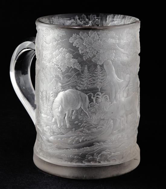 A Bohemian wheel engraved glass tankard, third quarter 19th century, 15cm (5.9in.)