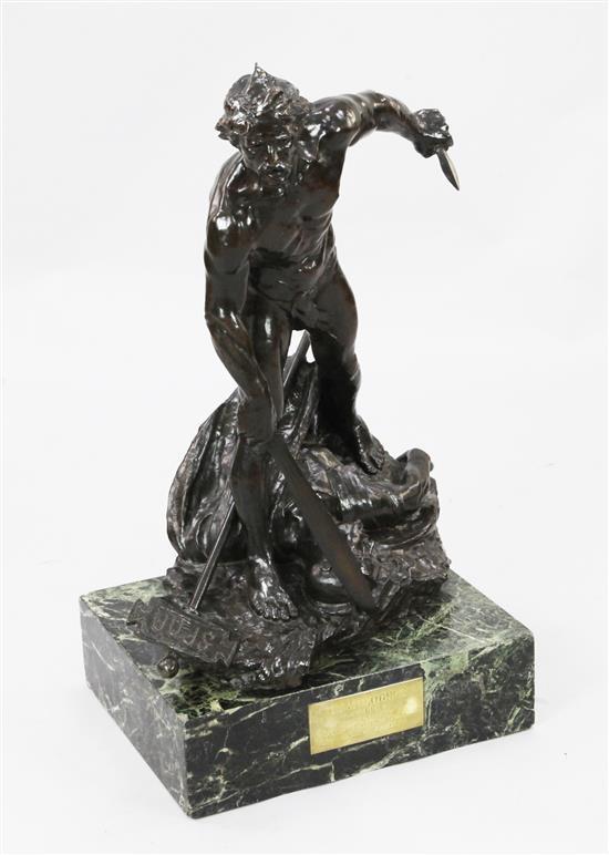 Hugo Klingselsen. A bronze group 'Camulogene, Chef Gaulois Defenseur de Lutece Contra L'Invasion Romaine', 31.5in.