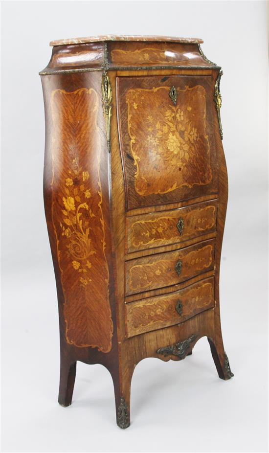 A late 19th century French marquetry inlaid kingwood secretaire à abattant, W.2ft 3in. D.1ft 2in. H.4ft 5in.