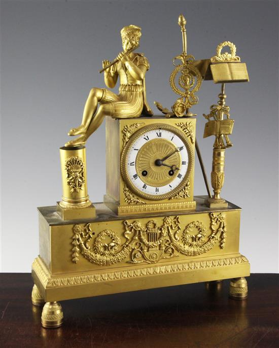 A 19th century French Empire style ormolu mantel clock, 14.5in.