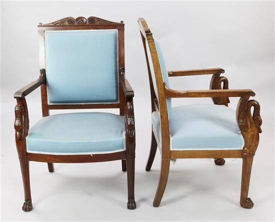 A pair of 19th century French Empire style mahogany fauteuils, W.2ft H.3ft 3in.