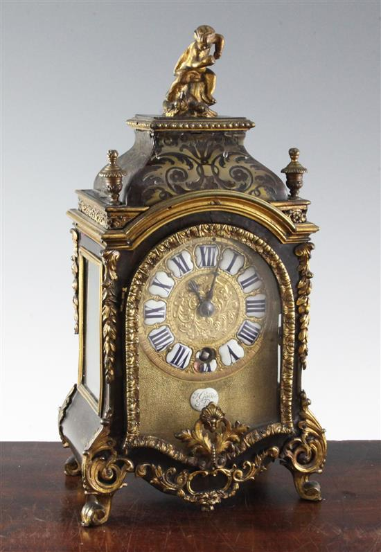 A late 19th century French boulle work mantel timepiece, 14in.