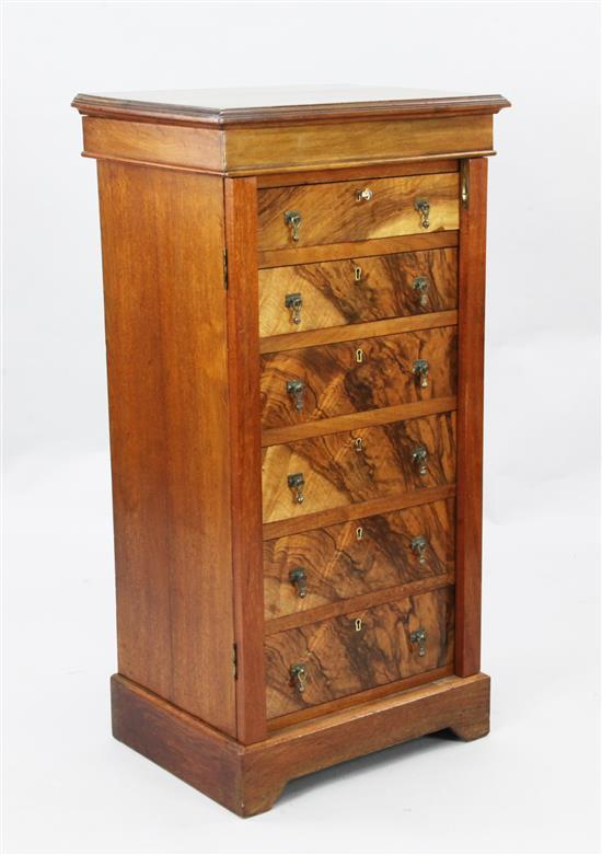 An early Victorian walnut Wellington style chest, W.1ft 9in. D.1ft 4in. H.3ft 6in.