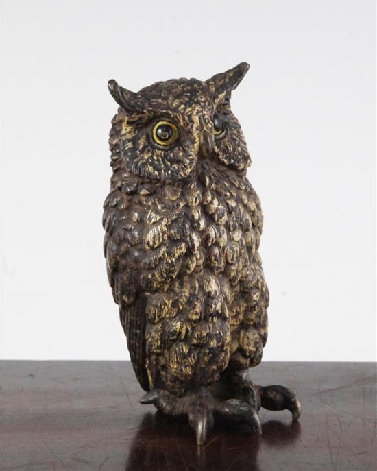 An Austrian cold painted bronze model of an owl, 4in.