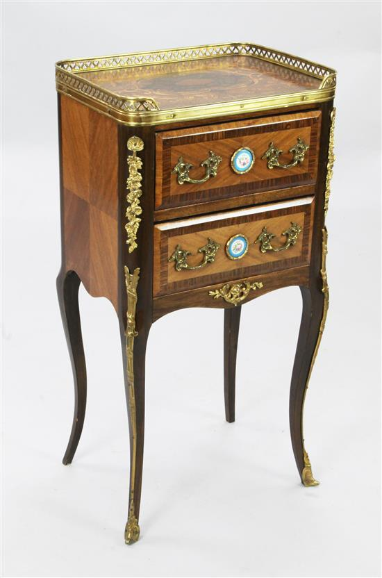 A French marquetry inlaid bedside chest, W.1ft 3in. D.11in. H.2ft 5in.
