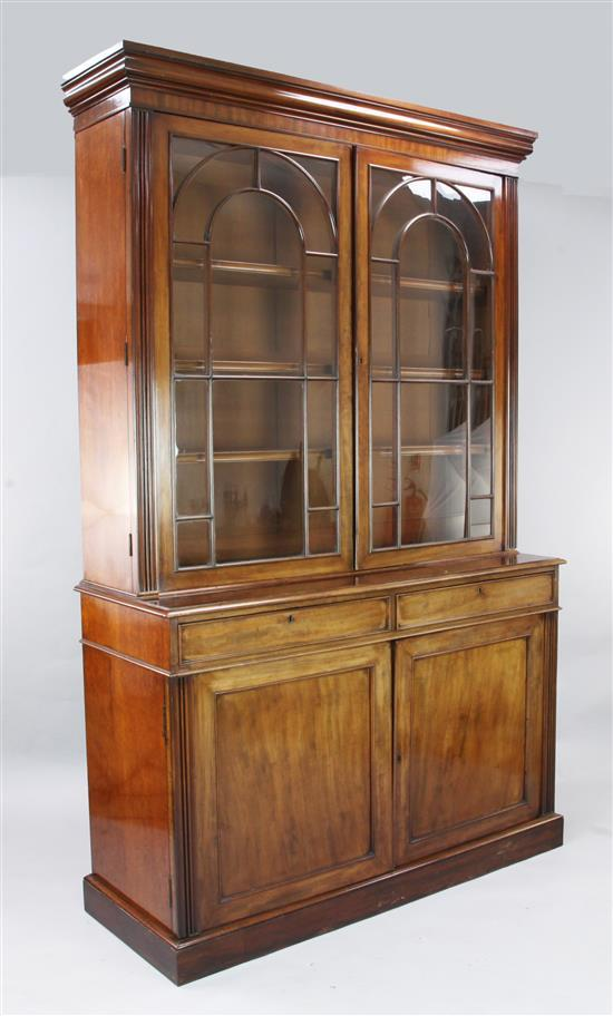 A Victorian mahogany bookcase, W.4ft 8in. D.1ft 9in. H.7ft 8in.