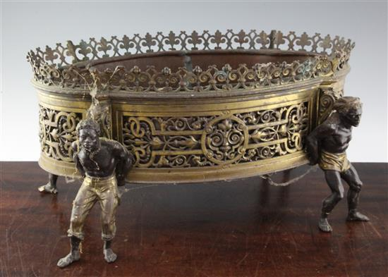 A 19th century French ormolu jardiniere, H.9in.