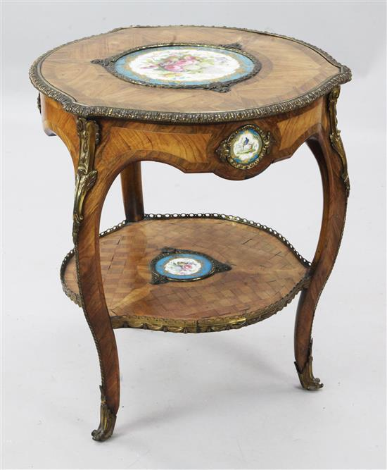 A late 19th century French ormolu mounted kingwood occasional table, W.1ft 11in. H.2ft 2in.