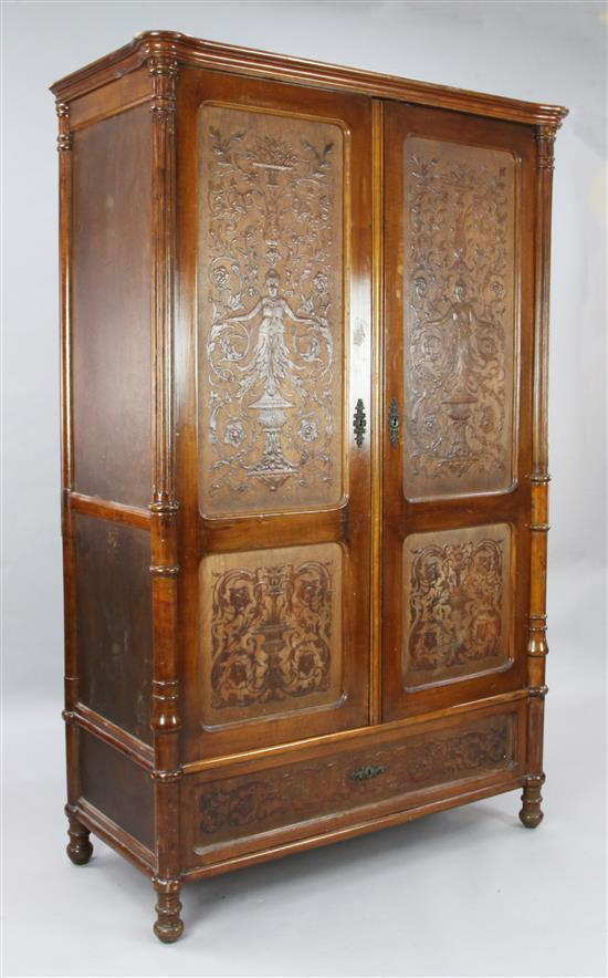 A 19th century French walnut armoire, W.3ft 10in. D.1ft 10in. H.6ft 1in.