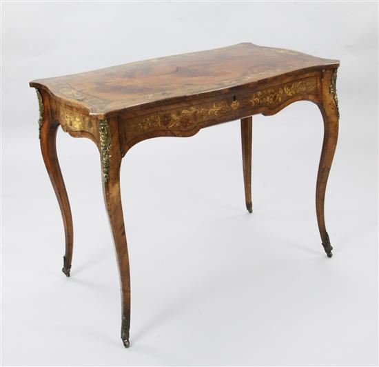 An Edwardian marquetry inlaid mahogany centre table, W.3ft D.1ft 9in. H.2ft 5in.