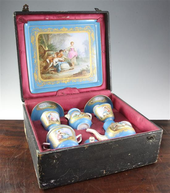 A good morocco leather cased Sevres style porcelain eleven piece cabaret set, late 19th century, the tray 12in.