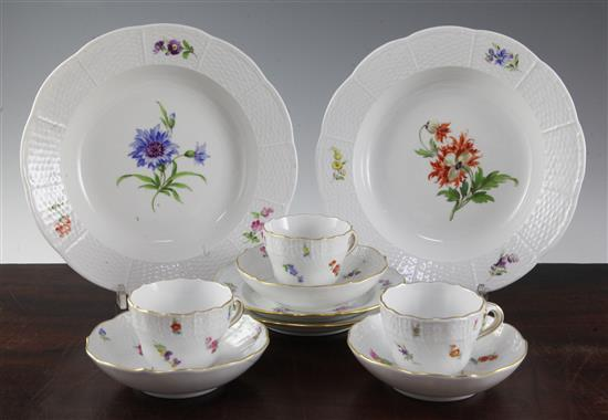 A group of Meissen flower painted coffee wares,