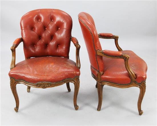 A pair of French Louis XVI style fauteuils, W.2ft 1in. H.2ft 9in.