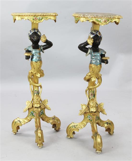 A pair of Venetian style giltwood blackamoor pedestals, H.3ft 1in.