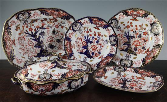 A late 19th/early 20th century Royal Crown Derby Imari pattern part dinner service, dinner plates 10in.