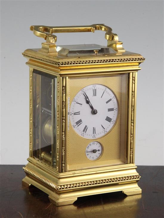 A late 19th century French hour repeating ormolu carriage clock, 6in.