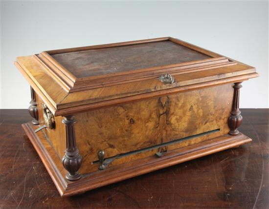 A late Victorian walnut cased polyphon & discs,