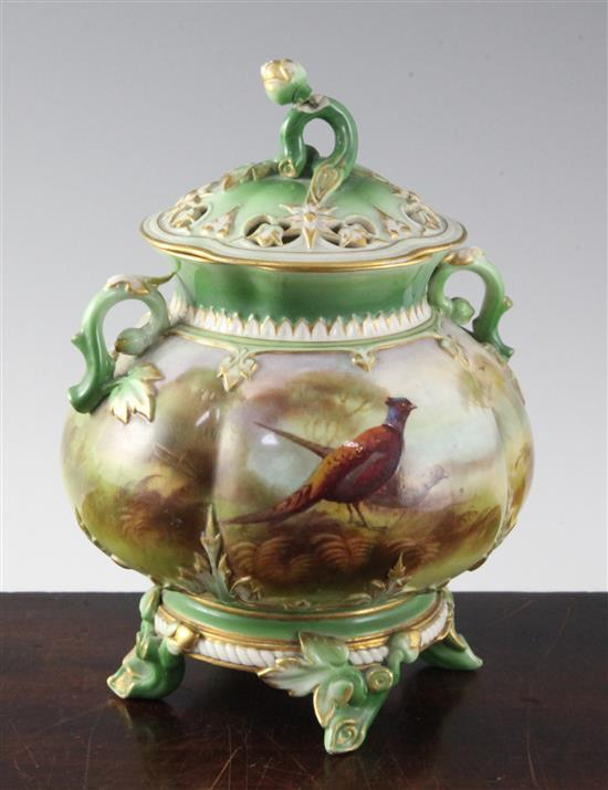 A Royal Worcester pheasant painted pot pourri vase and cover, c.1905, height 19cm (7.5in), damaged to finial