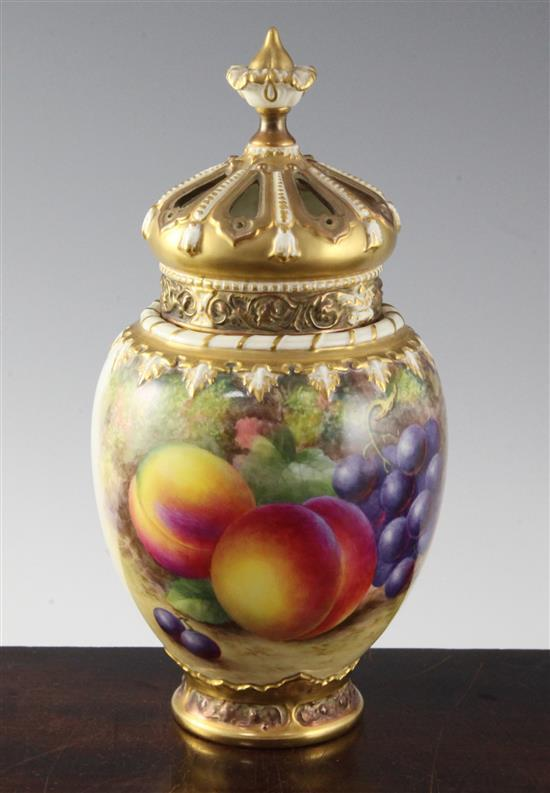 A Royal Worcester fruit painted pot pourri vase, inner cover and pierced cover, c.1957, 24.1cm (9.5in.)