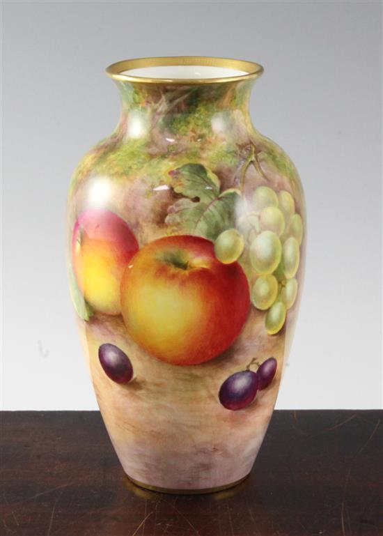 A Royal Worcester fruit painted ovoid vase, c.1955, height 18.7cm (7.4in.)