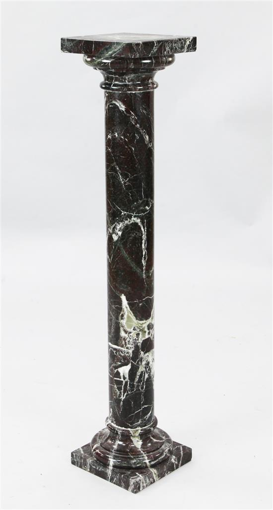 A late Victorian variegated marble column, H.3ft 4in. Diam. 8in.