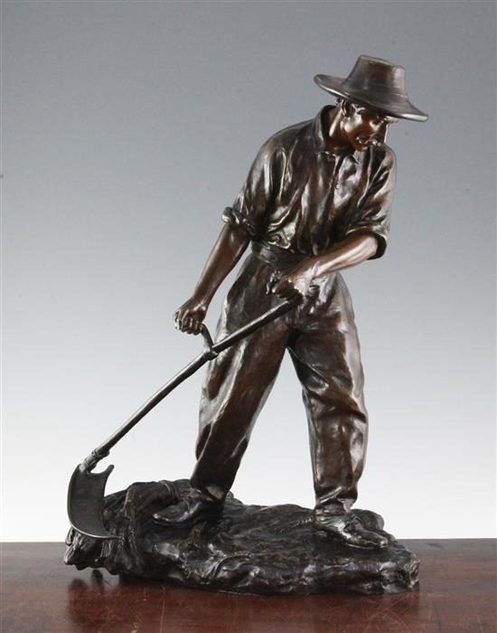 Paul d'Aire (fl.1890-1910). A bronze figure of a harvester scything wheat, 18.5in.