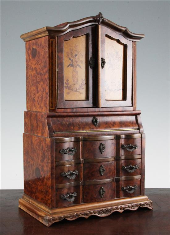 A model of a 19th century Swiss marquetry inlaid birds eye walnut secretaire cabinet, H.14.5in
