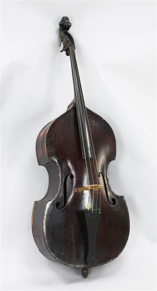 A 19th century double bass, 6ft, repairs to back