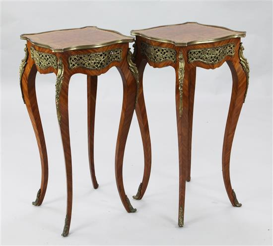 A pair of brass mounted kingwood occasional tables, W.1ft 2.5in. H.2ft 6in.