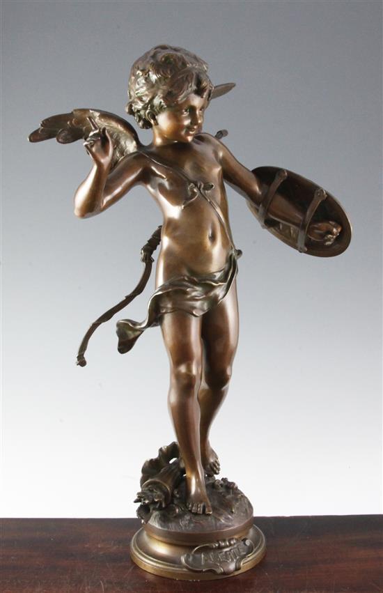 Auguste Moreau (1834-1917). A bronze figure of Cupid 'Alerte', 22in.
