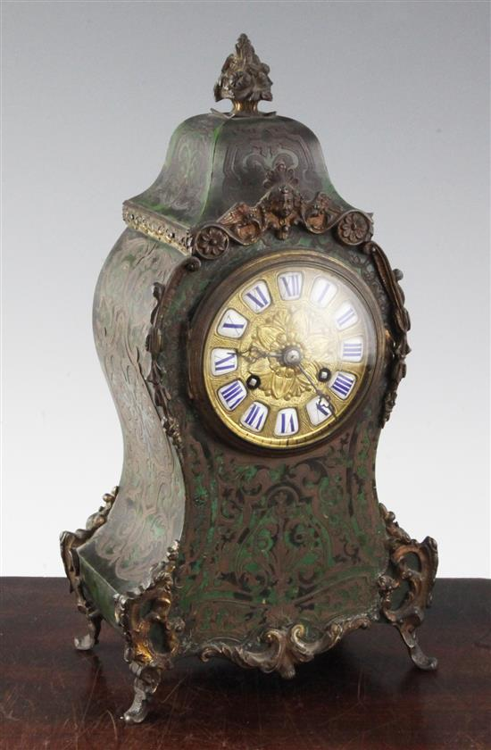 An early 20th century green boulle work mantel clock, 11.75in.