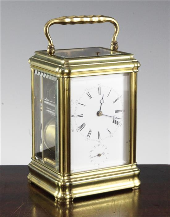 A Drocourt & Cie hour repeating brass alarum quarter repeating carriage clock, 5.75in.