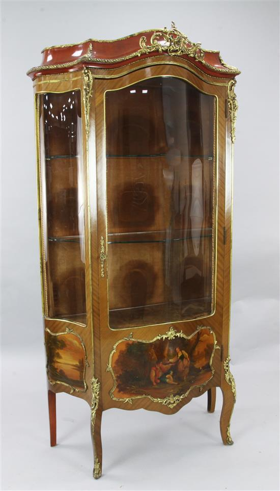 A Vernis Martin style mahogany vitrine, W.3ft 2in. D.1ft 6in. H.6ft 1in.