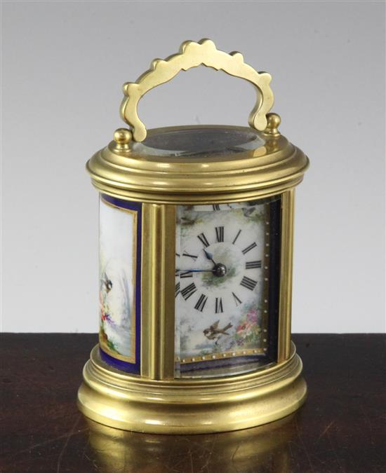 An early 20th century French gilt brass carriage timepiece, 3.75in.