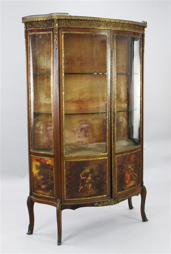 A French gilt metal mounted Vernis Martin style bowfront vitrine, W.3ft 4in. D.1ft 5in. H.5ft 5in.
