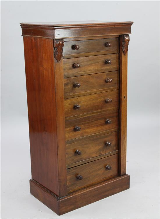 A late Victorian mahogany Wellington chest, W.1ft 10in. D.1ft 3in. H.3ft 7in.